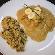 Curry Poulet mit Äpfeln und Bananen